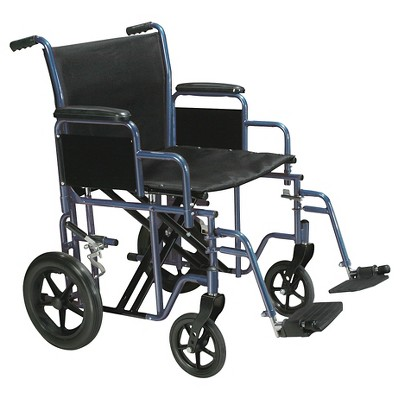 """Drive Medical Bariatric Heavy Duty Transport Wheelchair with Swing Away Footrest, 22"""" Seat, Blue"""