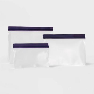 3pk Plastic Reusable Food Storage Bags Blue - Sun Squad™