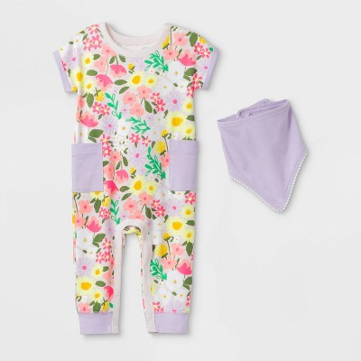 Baby Girls' Floral Romper with Bib - Cat & Jack™ Purple 0-3M