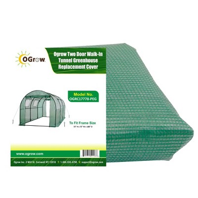 Two Door Walk-In Tunnel Greenhouse Replacement Cover Green - OGrow