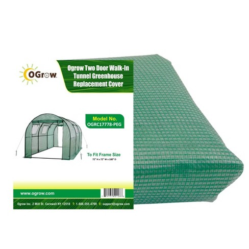 Two Door Walk-In Tunnel Greenhouse Replacement Cover Green - OGrow - image 1 of 4