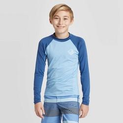 Boys' Long Sleeve Heather Raglan Rash Guard Swim Shirt - art class™ Blue