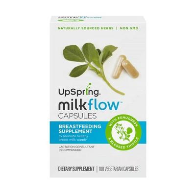 UpSpring Milkflow Fenugreek + Blessed Thistle Capsules Breastfeeding Supplement - 100ct