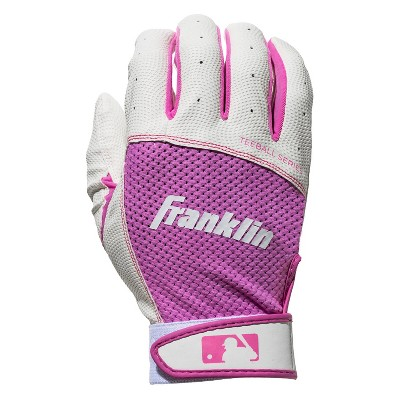 Franklin Sports Tee ball Flex Series Batting Gloves - White/Pink - Youth Large