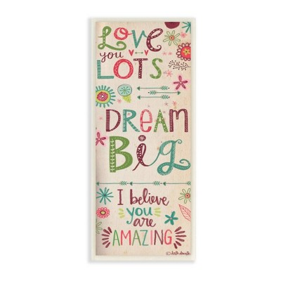 "7""x0.5""x17 Love You Lots Dream Believe Wall Plaque Art - Stupell Industries"