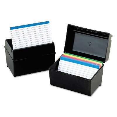 Oxford Plastic Index Card File 400 Capacity 6 1/2w x 4 7/8d Black 01461