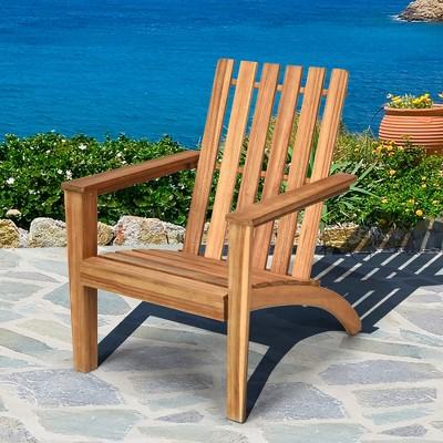 Costway Patio Acacia Wood Adirondack Chair Lounge Armchair Durable Outdoor Garden Yard