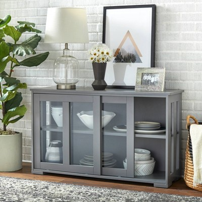 Pacific Storage Unit with Glass Charcoal Gray - Buylateral