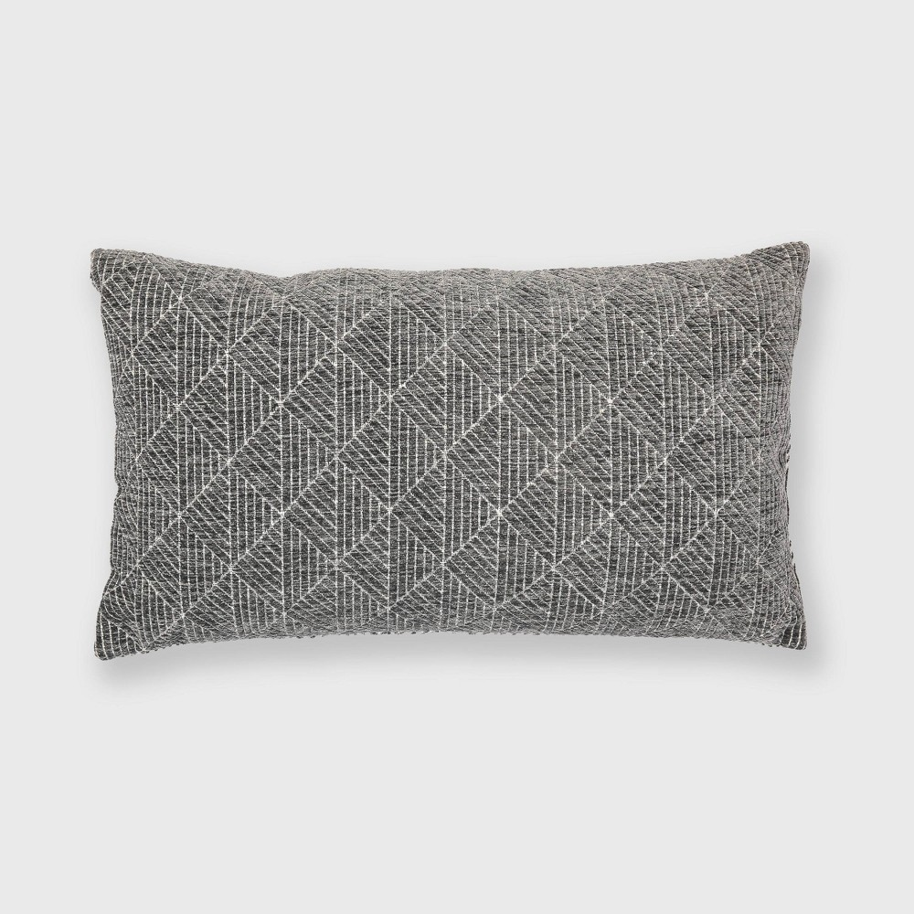 "Image of ""14""""x24"""" Geometric Chenille Woven Jacquard Throw Pillow Charcoal Gray - Freshmint"""