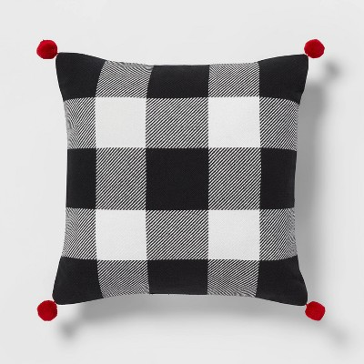 Buffalo Check Reversible Square Throw Pillow with Pom-Poms - Wondershop™