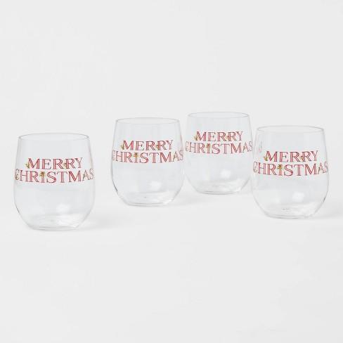14oz 4pk Plastic Merry Christmas Wine Glasses - Threshold™ - image 1 of 3