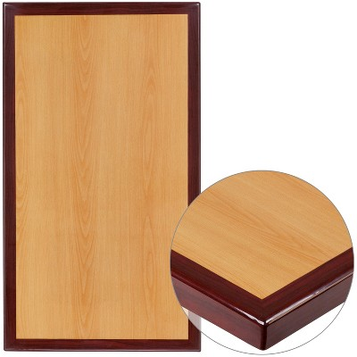 """Flash Furniture 24"""" x 42"""" Rectangular 2-Tone High-Gloss Cherry Resin Table Top with 2"""" Thick Mahogany Edge"""