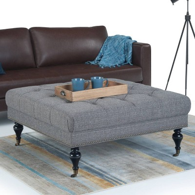 Marcel Large Square Coffee Table Ottoman Pebble Gray Tweed Fabric    Wyndenhall