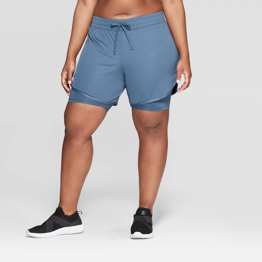 Women's Plus Size Mid-Rise Knit Layered Shorts 7 - C9 Champion Gray 1X