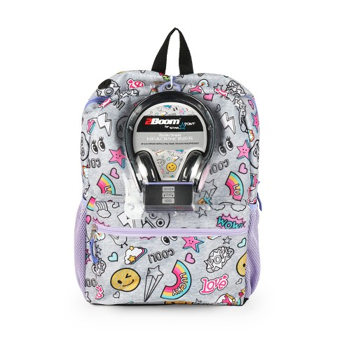 17'' Jersey Doodle Backpack with Headphones - image 1 of 4