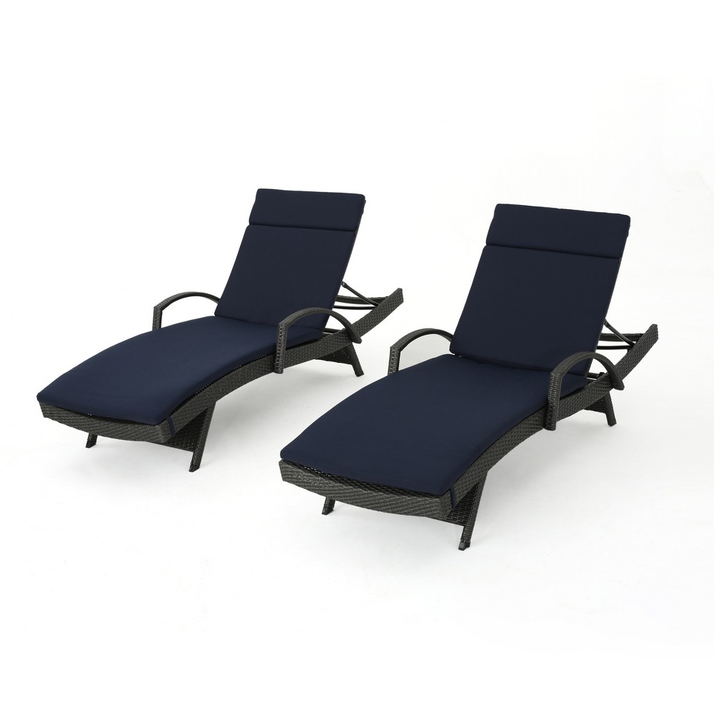 Salem Gray 2pk Wicker Adjustable Chaise Lounge with Arms - Navy (Blue) - Christopher Knight Home
