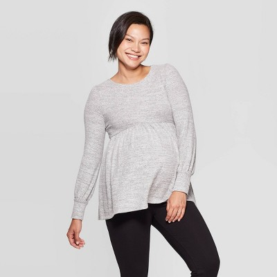 Maternity Long Sleeve Cozy Babydoll Top - Isabel Maternity by Ingrid & Isabel™ Gray S