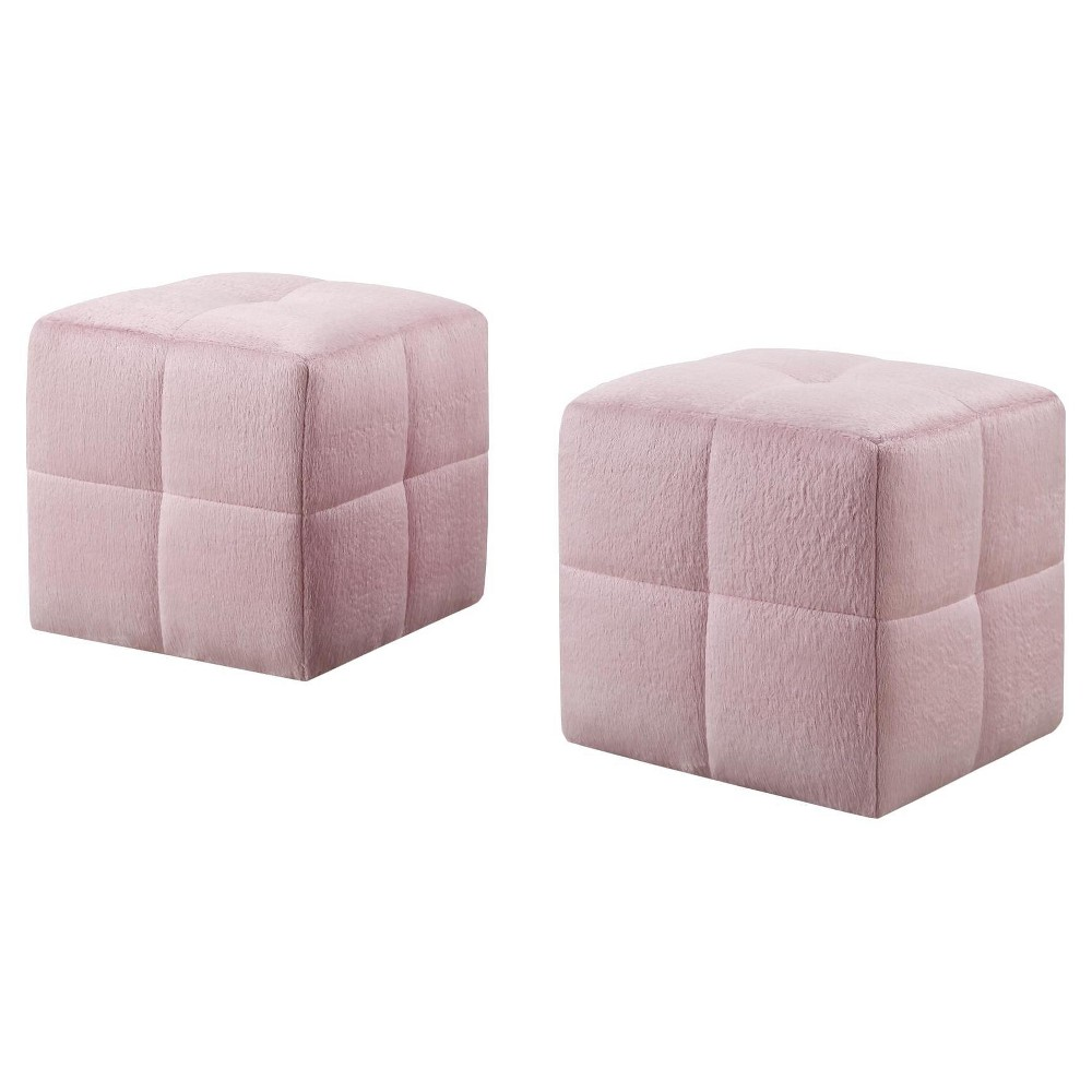 Image of 2pc Kid's Ottoman Fuzzy Pink Fabric - EveryRoom