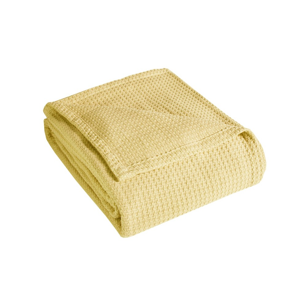 Full Queen Grand Hotel Textured Cotton Bed Blanket Lemon Elite Home Products