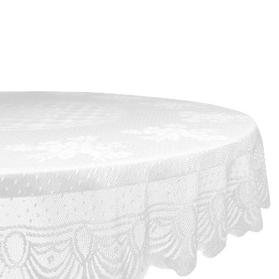 White Lace Floral Polyester Tablecloth (63 Round)- Design Imports