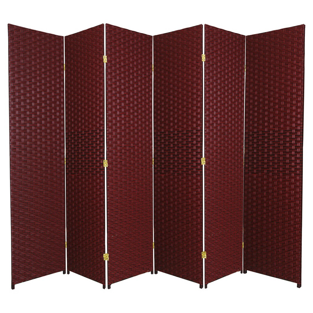6 ft. Tall Woven Fiber Room Divider - Red/Black (6 Panels), Multi-Colored