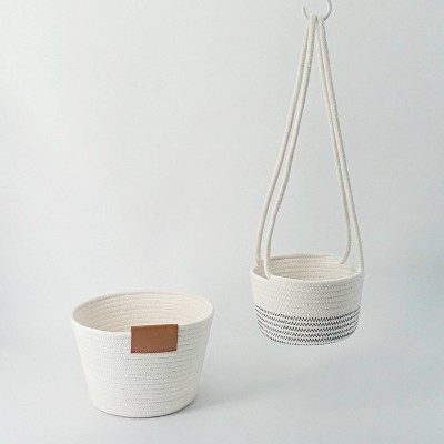 White Cotton Weave Hanging & Floor Decorative Basket Set - Bullseye's Playground™