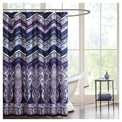 Herringbone Shower Curtain Purple