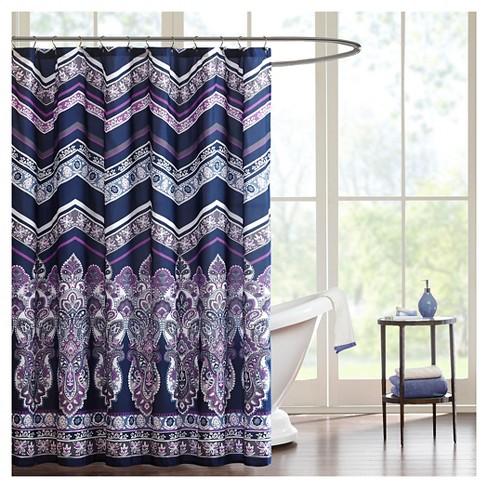 Herringbone Shower Curtain Purple - image 1 of 1