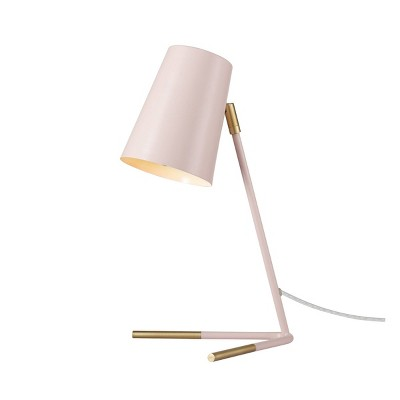 "16"" Dobby Matte Rose Desk Lamp with Matte Gold Legs - Novogratz x Globe"
