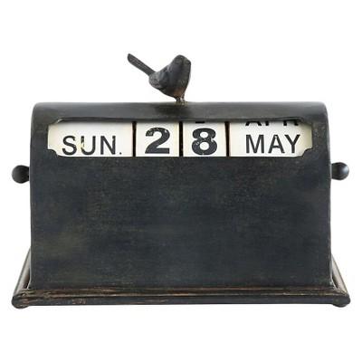 Metal Perpetual Calendar with Bird - Rust Finish - 3R Studios