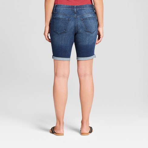 e5bcc4ccd206d Maternity Inset Panel Bermuda Jean Shorts - Isabel Maternity By Ingrid &  Isabel™ Dark Wash : Target