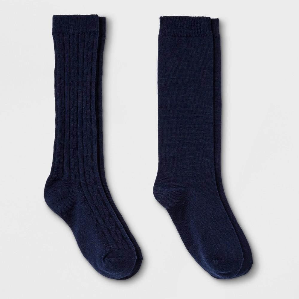 Girls' 2pk High Knee - Cat & Jack Navy L, Blue