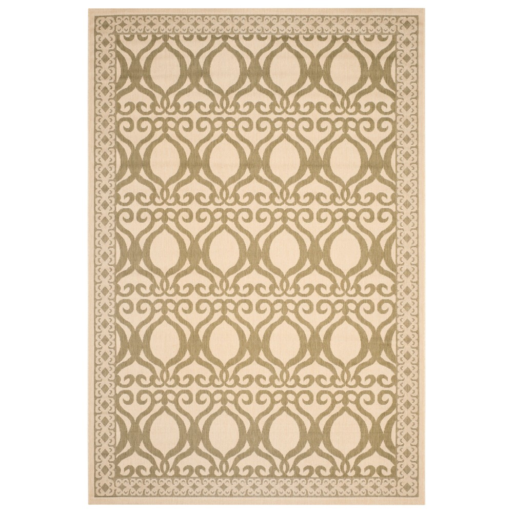 Manisa Rectangle 8' X 11' Outdoor Patio Rug - Natural / Olive - Safavieh, Natural/Green