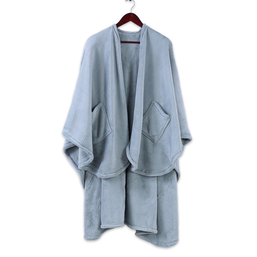 Image of Plush Wrap Blanket Blue - Better Living