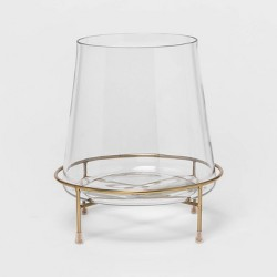 "10"" x 9"" Glass Hurricane Pillar Candle Holder with Pedestal Gold/Clear - Project 62™"