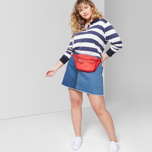 Womens Plus Size Colorblock Zip Front Denim Mini Skirt Wild Fable