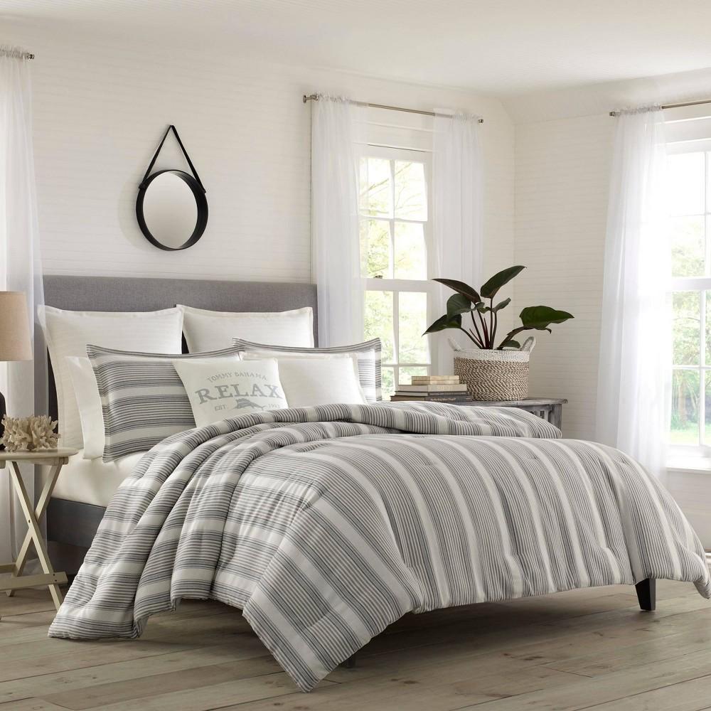 Relax By Tommy Bahama King Island Stripe Comforter & Sham Set White, Gray