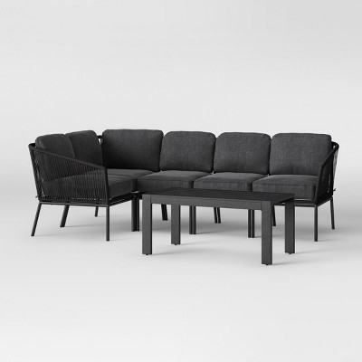 Standish 6pc Patio Sectional Set Charcoal - Project 62™