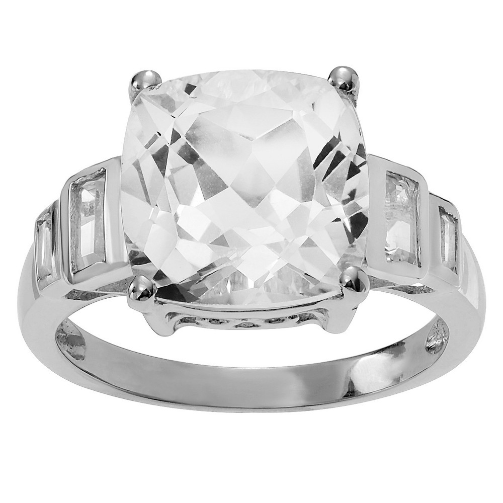 3 3/4 CT. T.W. Cushion-Cut Crystal Prong-Set Ring in Sterling Silver - Silver (9), Girl's