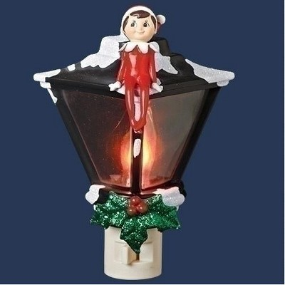 "Roman 6"" Elf Sitting Atop a Lamp Post Holiday Night Light - Red/Black"