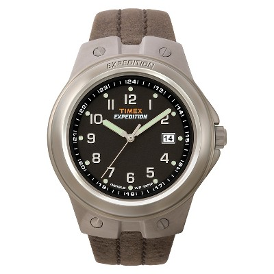 Men's Timex Expedition Watch with Leather Strap - Silver/Black/Brown T49631JT