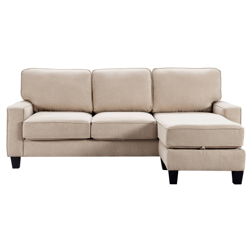 "Image of ""86"""" Palisades Reversible Small Space Sectional with Storage Soft Beige - Serta"""