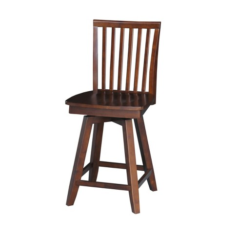"24"" Mission Counterheight Stool With Swivel And Auto Return Brown - International Concepts - image 1 of 2"