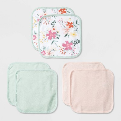 Baby Girls' 6pk Floral Meadow Washcloth Set - Cloud Island™ Pink