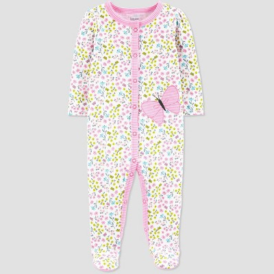 Baby Girls' Floral Butterfly Print One Piece Pajamas - Just One You® made by carter's White Newborn