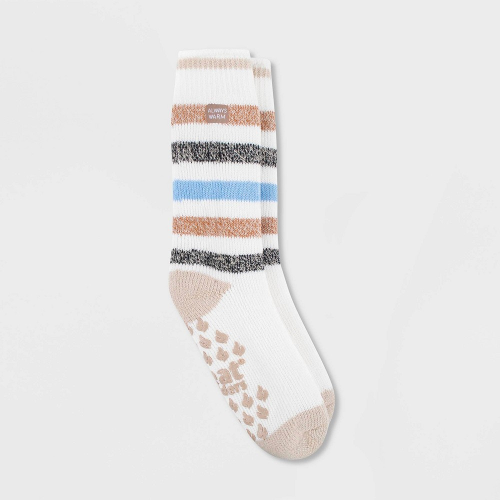 Image of Always Warm by Heat Holders Women's Striped Warmest Crew Slipper Socks - Cream/Oatmeal 5-9, Women's, Size: Small, Ivory/Oatmeal