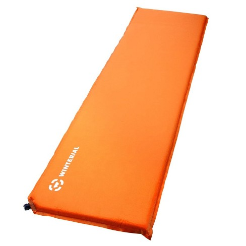 Winterial 72x20 Inch Outdoor Self Inflating Backpacking Camping Bed Roll Sleeping Pad Mat, Single, Orange - image 1 of 4
