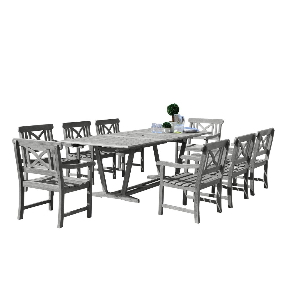 Vifah Renaissance Eco-friendly 9-Piece Outdoor Hand-scraped Dining Set with Rectangle Extension Table and Arm Chairs - Gray