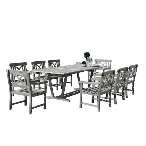 Strange Vifah Renaissance Eco Friendly 9 Piece Outdoor Hand Scraped Dining Set With Rectangle Extension Table And Arm Chairs Gray Cjindustries Chair Design For Home Cjindustriesco