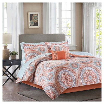Coral Nepal Comforter Set with Sheet Set (Twin XL)
